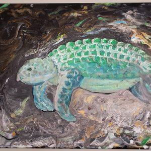 sea turtle emerging