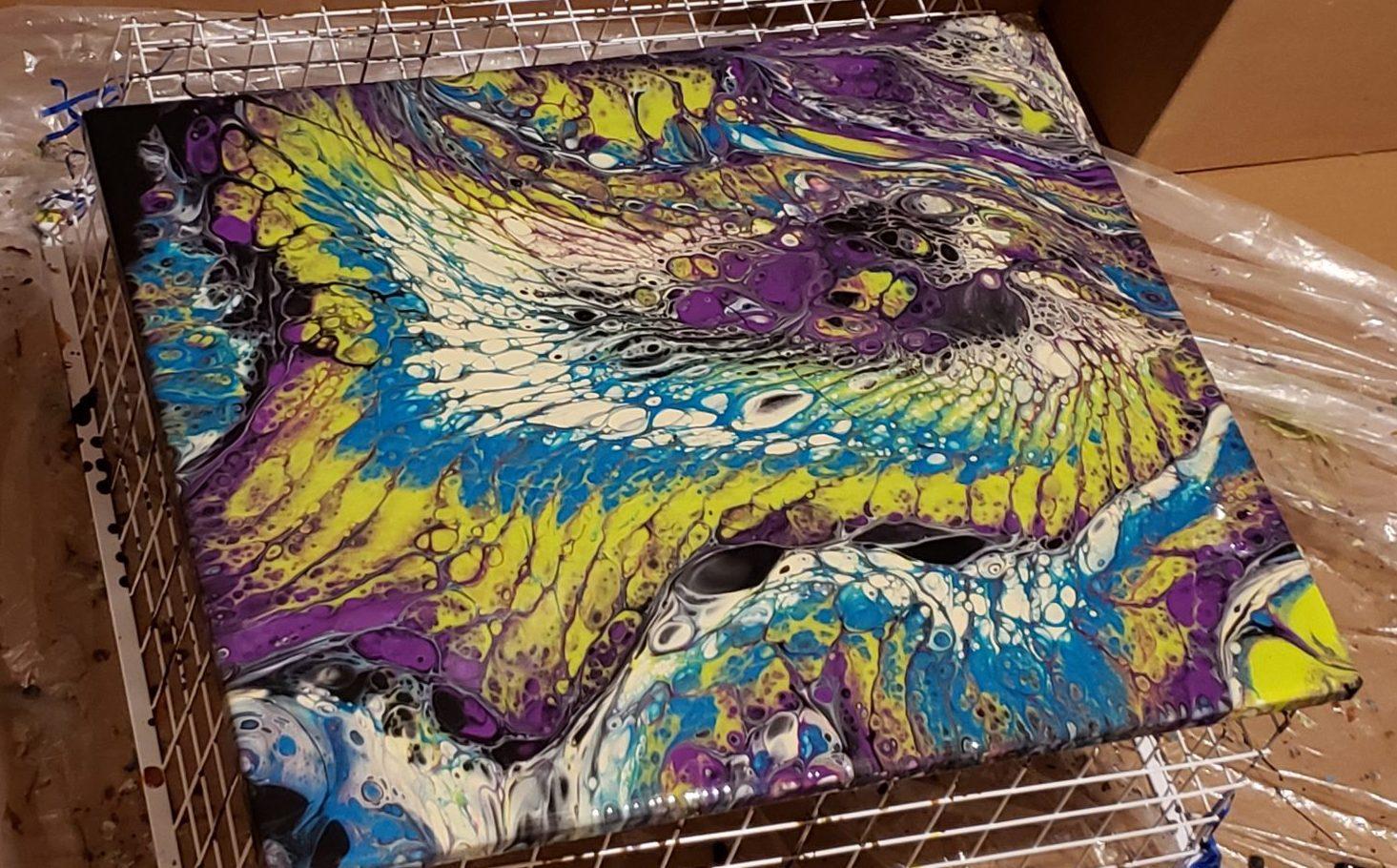 PEacock Acrylic Pour